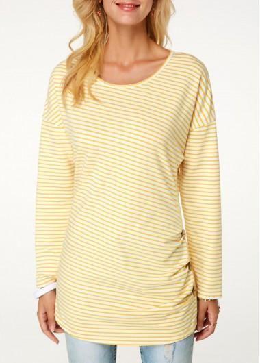 d315f46f247764  falloutfits  AdoreWe  Rotita -  unsigned Stripe Print Button Detail Light  Yellow T Shirt - AdoreWe.com