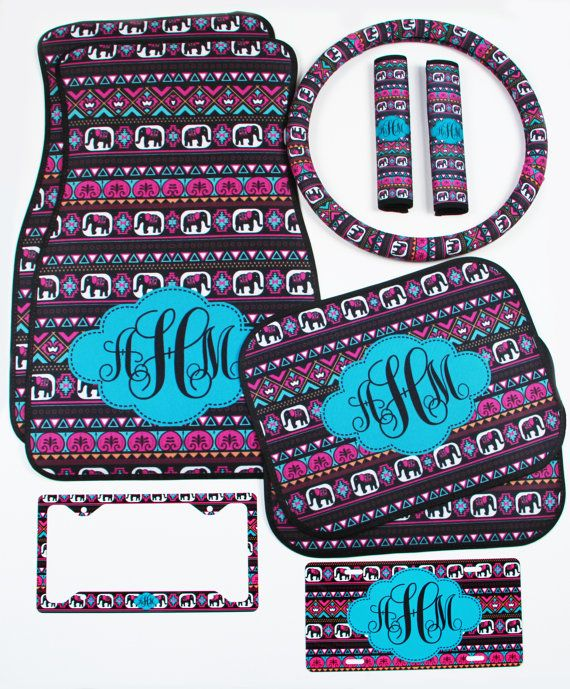 Elephant Aztec Tribal Car Accessories MIX AND by ChicMonogram