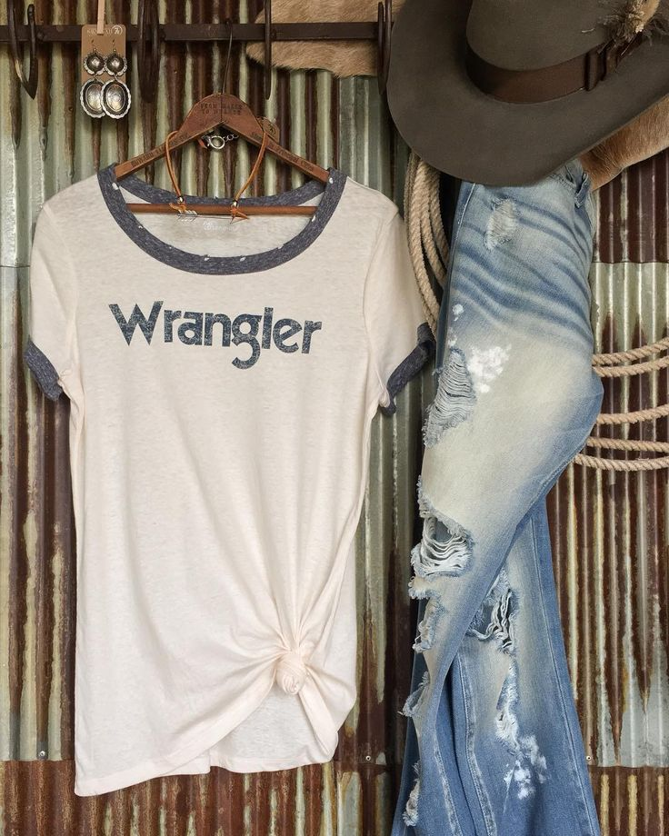 Your fave retro Wrangler tee now in the perfect distressed blue  #newbie #love #retro #fave #savannah7s