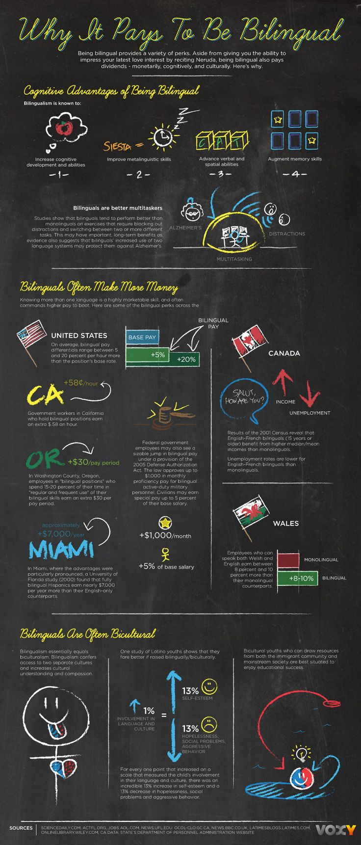 Why It Pays To Be Bilingual | Photo @ Voxy Blog. http://voxy.com/blog/2011/02/why-it-pays-to-be-bilingual-infographic
