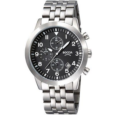Boccia Mens Black Dial Chronograph Titanium Bracelet Watch - B3772-02 - RPP £150.00 - Online Price £127.50