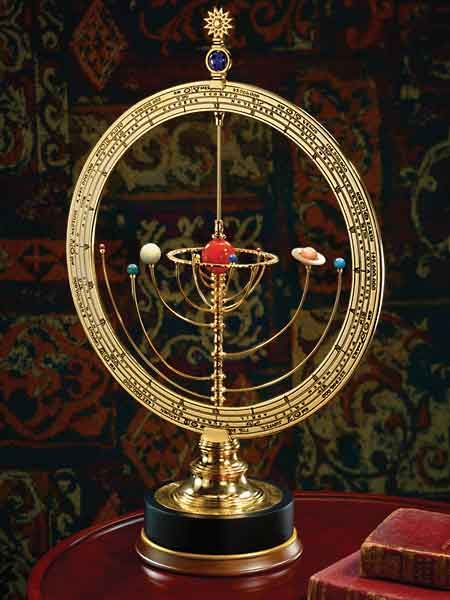Solar Orrery: a mechanical device that illustrates the relative positions and motions of the planets in the solar system.