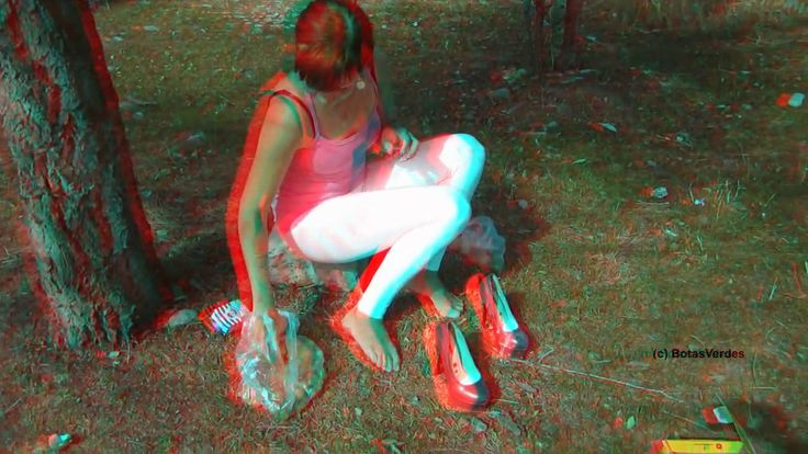 3D-Anaglyph: Jelena - Pumps, Milk, Fruits = Wet Feet! - #053  (Experimen...