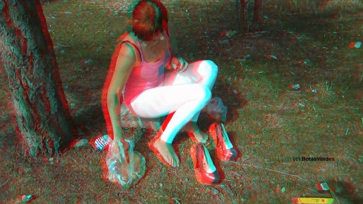 3D-Anaglyph: Jelena - Pumps, Milk, Fruits = Wet Feet! - #053  (Experimen...