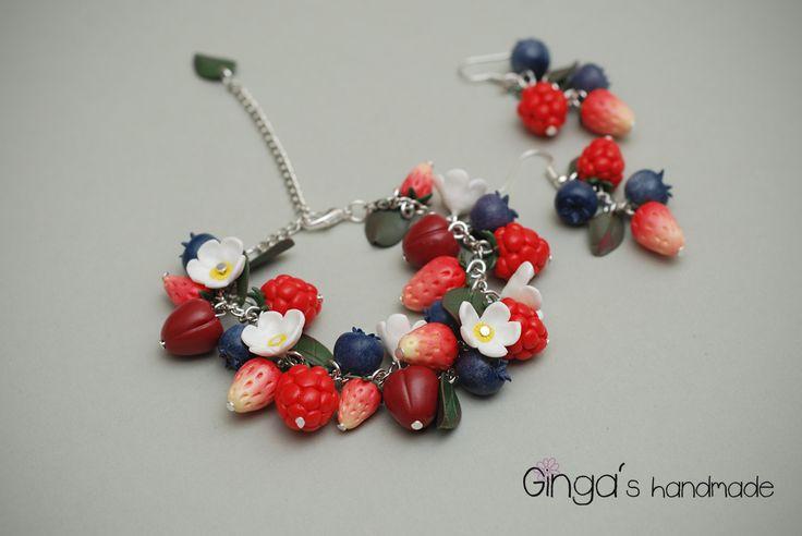 Polymer clay berries. Handmade earrings and bracelet.