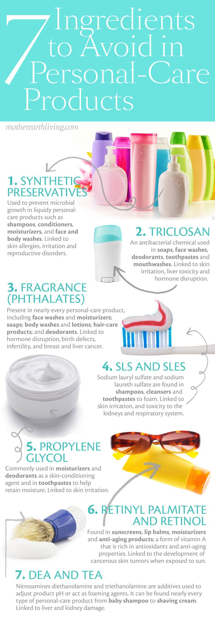 7 Ingredients to Avoid in Personal-Care Products #infographic.  Find out from @RodaleNews Online Editor @LeahZerbe how these chemicals can also make you fat! http://www.smarthealthtalk.com/gmos-phthalates-antibiotics-making-us-fat.html