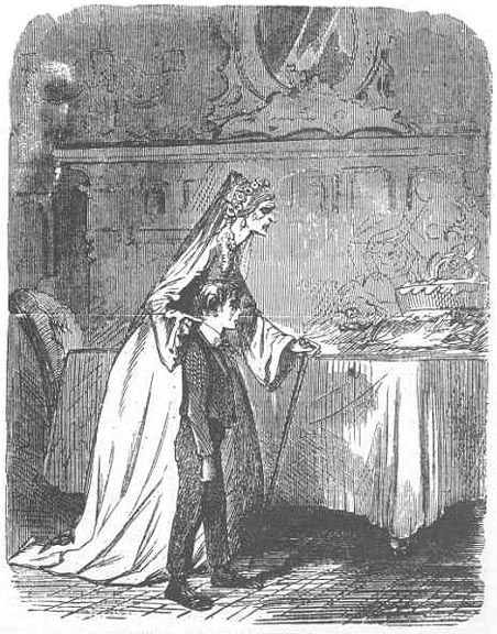"""It's a great cake. A bride-cake. Mine!"" -- illustration by John McLenan for American serial edition in Harper's Weekly Magasine"