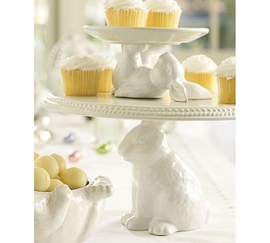 I collect cake stands and love bunnies....these are perfect!  Bunny Dessert Stands #potterybarn