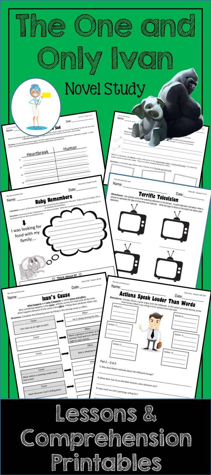 No student wants to follow up a chapter of The One and Only Ivan with boring questions and answers.Our solution? These comprehension activity printables. Theyre aligned to todays educational standards beautifully illustrated and will help your students to capture the very essence of Katherine Applegates brilliant novel. 6d