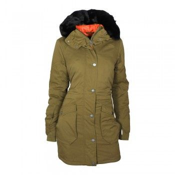 BENCH Long Parka Wolfish III Damen Jacke Dark Brown (olive)