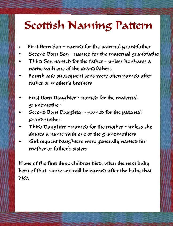 Scottish Naming Pattern http://theindepthgenealogist.com/understanding-scottish-naming-pattern/