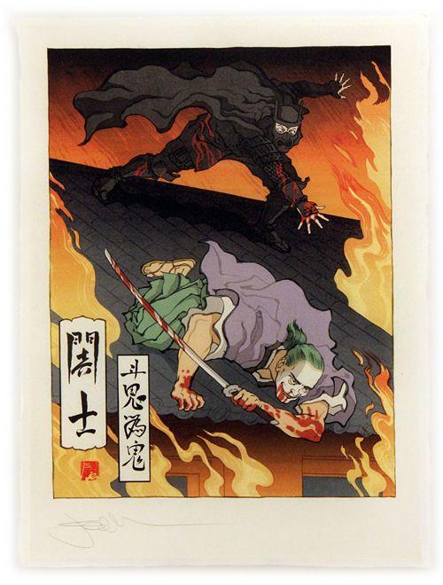 D Printing Exhibition Tokyo : Samurai batman chases joker in japanese inspired woodblock