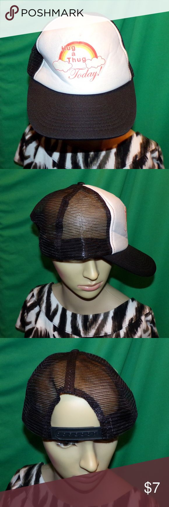 Hug A Thug Hat Religious Hat Novelty Hat Hug A Thug Hat Religious Hat Novelty Hat Baseball Cap 80's Vintage Hat LOW & Fast Shipping. From the 80's from a collection, it has the mesh rear. It has never been worn in excellent vintage condition hard to find things this old! Made by Attractive Headwear and it has the Snap Adjuster for a perfect fit every time. Bundle 2 or more of our items for a discount or make us a OFFER the Fairies here love OFFERs :) Attractive Headwear Accessories Hats