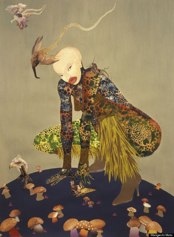 by Wangechi Mutu - Riding Death in My Sleep, 2002, ink collage on paper, 60 x 44 inches. Collection of Peter Norton, New York.