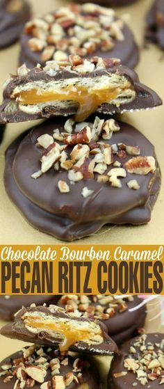 These Chocolate Bourbon Caramel Pecan Ritz Cookies are basically boozy turtle cookies with soft, creamy caramel enrobed in chocolate.