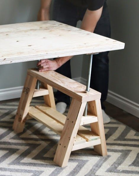 Learn How To Build An Adjustable Sawhorse Desk Free Plans And Tutorial At Ana Home
