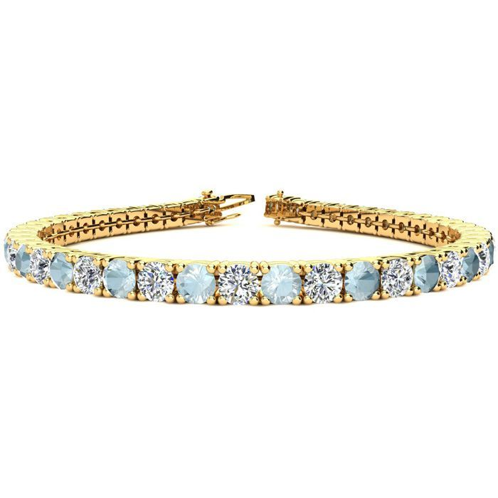 9 Inch 10 1 2 Carat Aquamarine Diamond Tennis Bracelet In 14k Yellow Gold 15 4 G By S Tennis Bracelet Diamond Black Diamond Bracelet Yellow Gold Bracelet