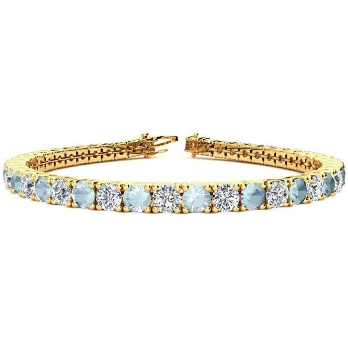9 Inch 10 1 2 Carat Aquamarine Diamond Tennis Bracelet In 14k Yellow Gold 15 4 G By S Tennis Bracelet Diamond Black Diamond Bracelet Yellow Gold Bracelet