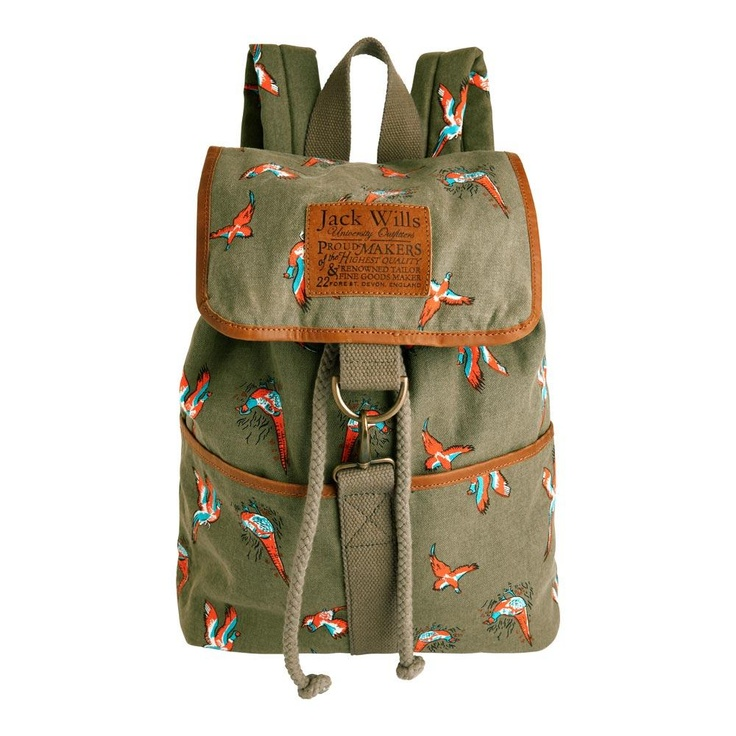 Reavley Backpack    Jack Wills and their pheasant print this season has really impressed me - so classically English!