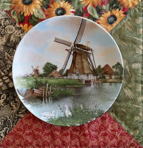 Plate Schwabap Royal Holland Porcelain Wall Windmill Netherlands Signed Ter Steege
