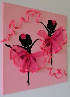 Bailarinas bailarinas rosa arte de la pared.