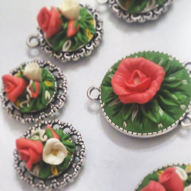 New jewelry coming soon 🌼 ° • ° • #jewellery #rose #leaf #polymerclay #handmade #faux #flower #pendant #earrings #pink #white #green #bright #roses #flowers #polymer #clay #charm #pin #delicate #petals #sculpture #fimo #sculpey #cute #charming #brooch #leaves #jewelry