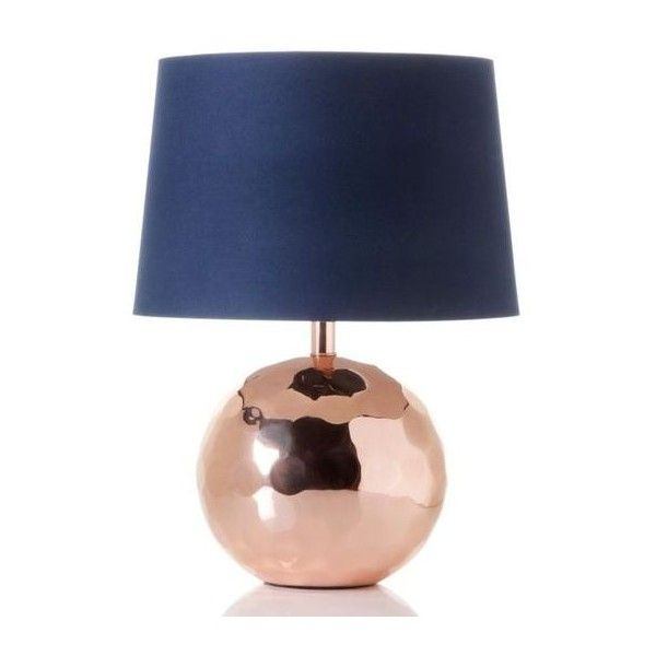Nate Berkus Rose Gold Table Lamp with Navy Shade ❤ liked on Polyvore featuring home, lighting, table lamps, nate berkus lamp, nate berkus lamp base, hammered lamp, dark blue lamp and navy lamp