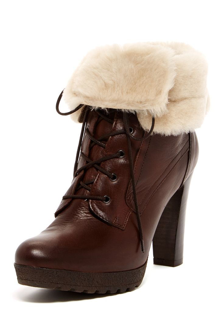 Cuffed Lace-Up High Heel Boot