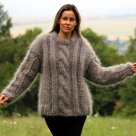 Hand Knit Mohair Sweater gray Fuzzy crewneck 10 strands Handgestrickte pullover by Extravagantza