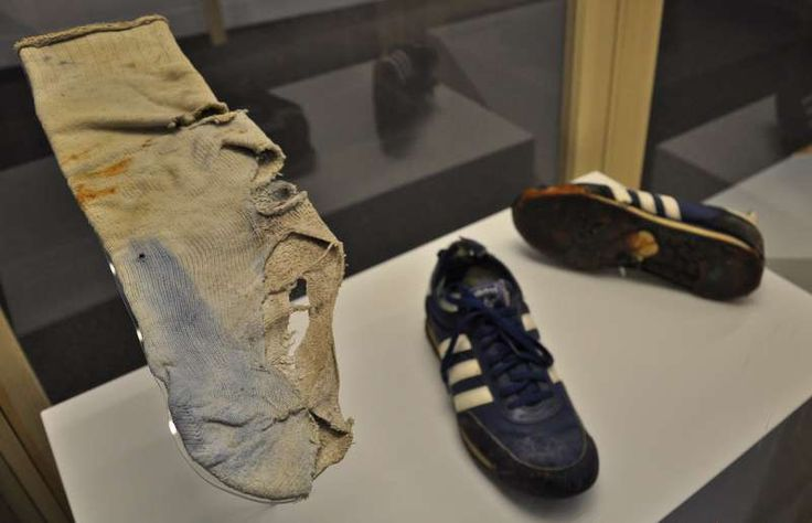 Terry Fox shoes | Terry Fox's worn out shoes and bloody sock.