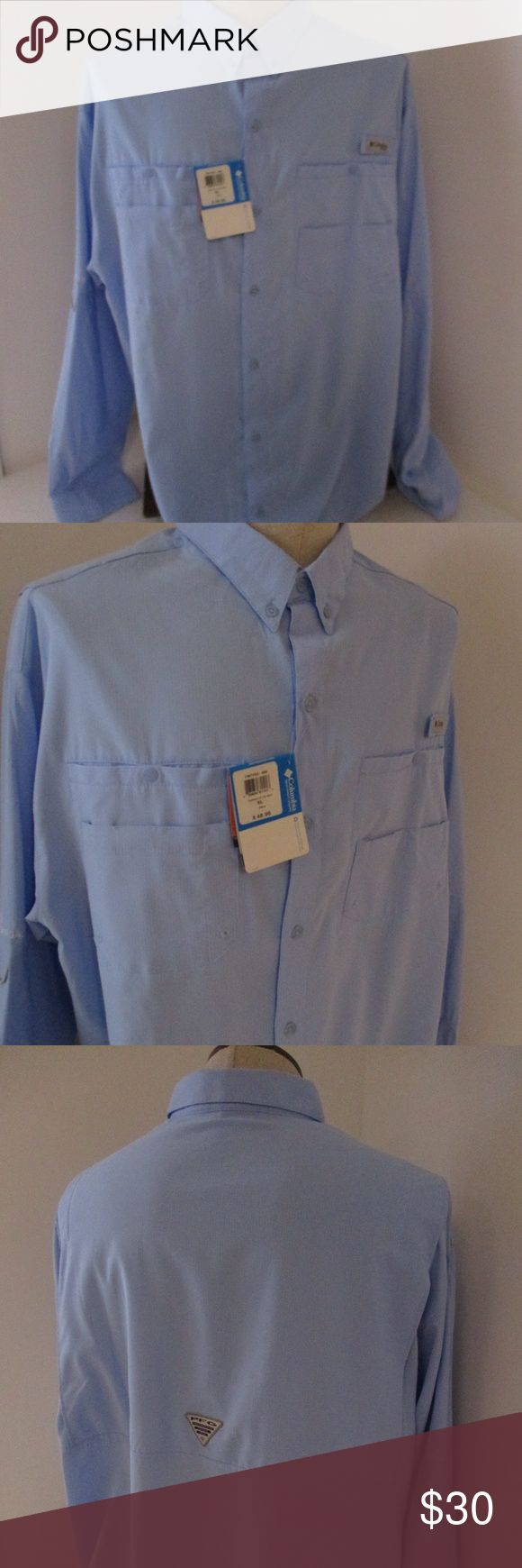 "Columbia PFG Tamiami Blue Sleeve Shirt XL NWT Brand new Columbia PFG shirt in size XL     Style is Tamiami in a pretty shade of blue      Omni shade 40 sun protection     100% polyester     New condition with tag attached     Retail price $48     Chest- 26.5""  Length- 32"" Columbia Shirts Casual Button Down Shirts"