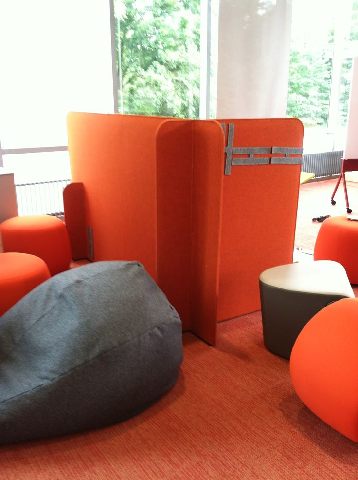 Portable felt partitions, Sawyer Library, Williams College (Mass). They offer a sense of privacy and also some acoustical absorption.