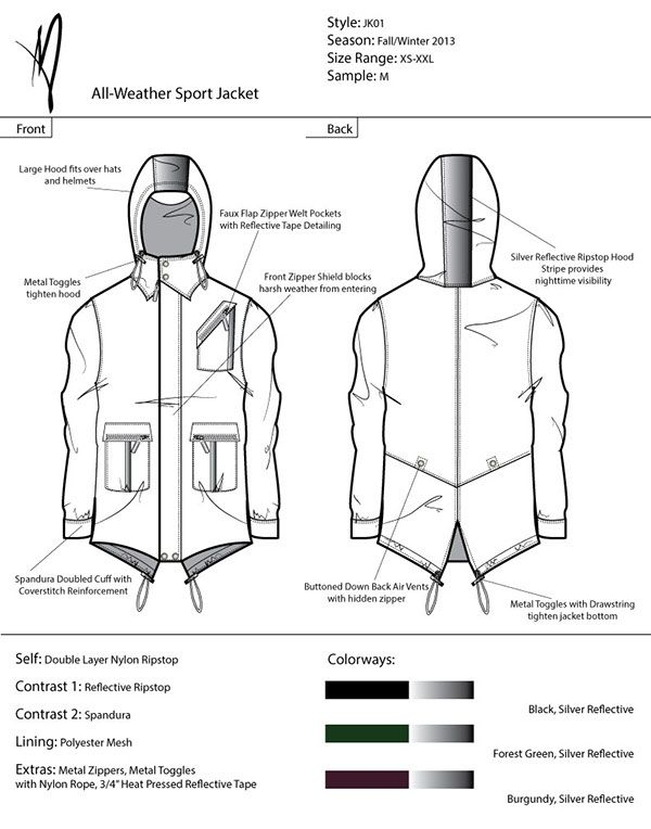 Technical package for a collection of four mens athletic jackets and two pants.