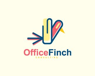 Office Finch is an abstract logo with an abstract shape of a bird in combination with a clip.( logo for sale, business, office, bird, colorful, mosaic, app developer, digital media, app, multicolor, multimedia,  logo design).