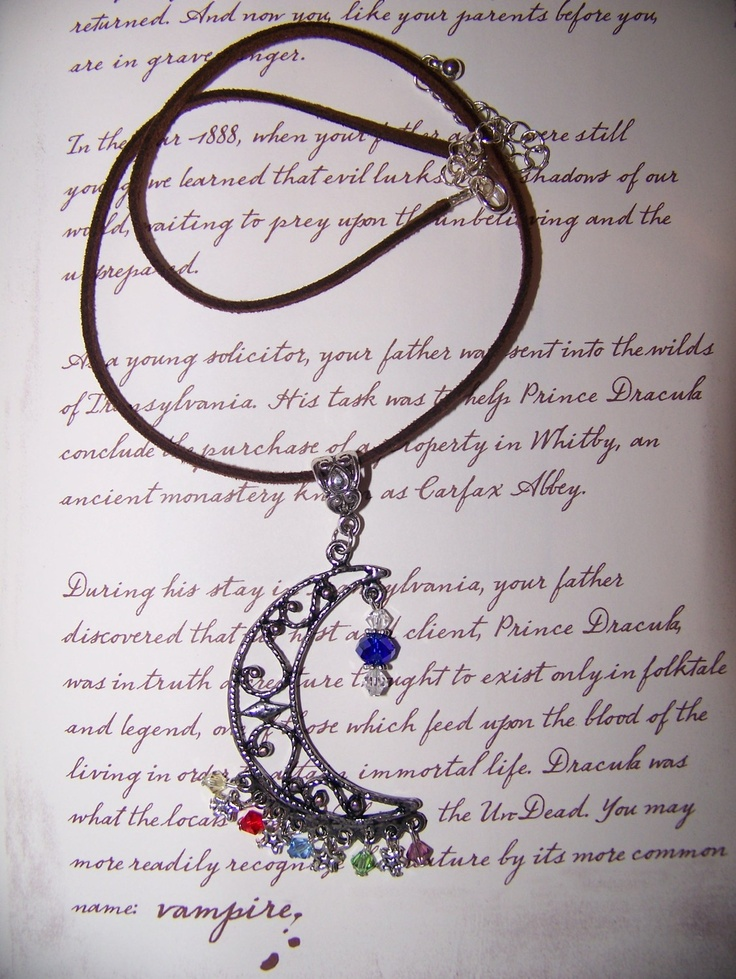 House of Night Crescent Moon Elements Necklace. $16.00, via Etsy.
