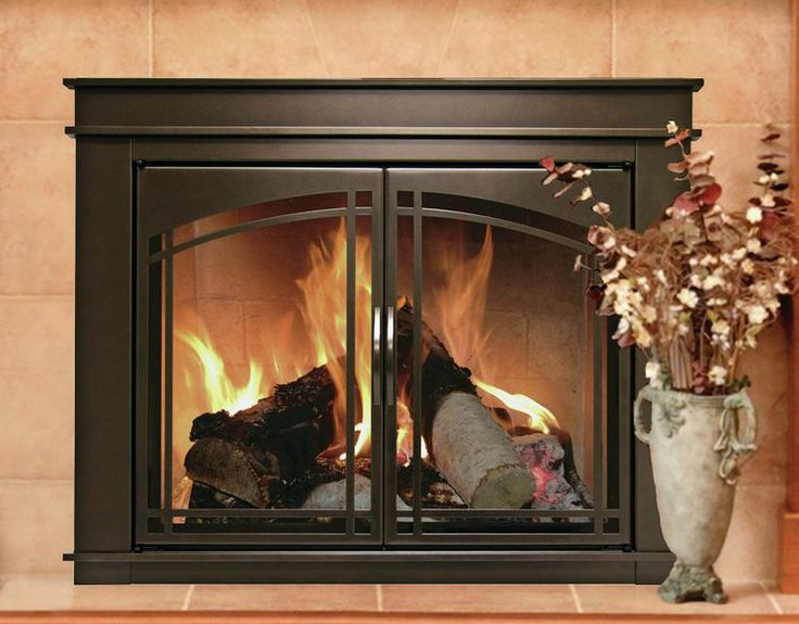 Fenwick Cabinet Style Fireplace Screen and Arch Prairie Smoked Glass Door