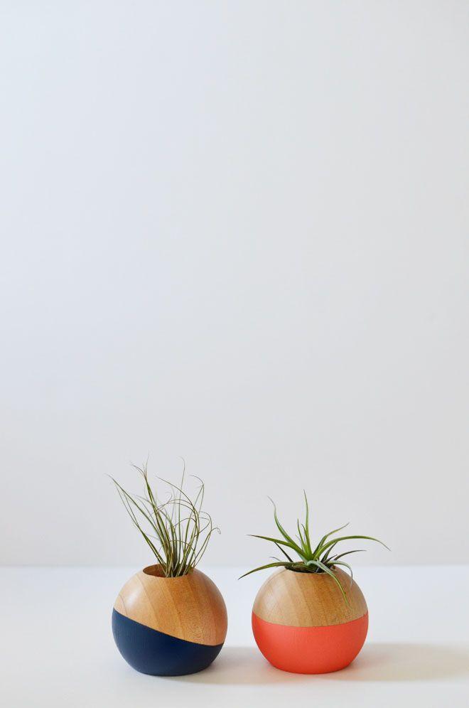DIY: colorblocked air plant pot