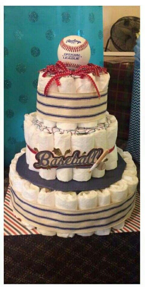 Vintage baseball diaper cake