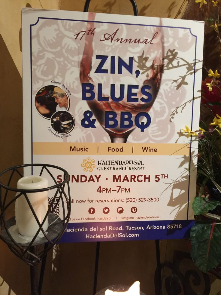 17th Annual Zin, Blues & BBQ  - Sunday March 5, 3-8pm. Over 30 different zinfandels available for tasting and purchasing retail. Blues band features: Connie Brannock and Little House of Funk Price: $68 per person including wine | $42 per person without wine | $21 per children 7-14  BBQ MENU Grilled House-Made Andouille Sausage  Whole Roasted Suckling Pig  Jalapeno Corn Spoon Bread Pudding  Marinated Flank Steak Chimmichuri / Cilantro Rice  Smoked B