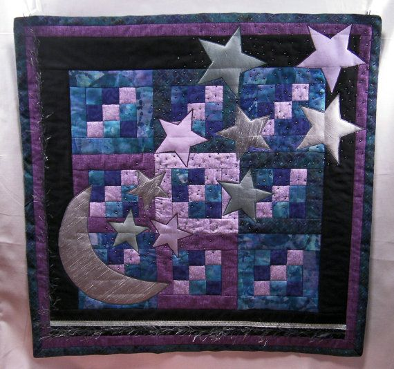 Moon And Stars Quilted Wall Hanging Hand Beaded Etsy