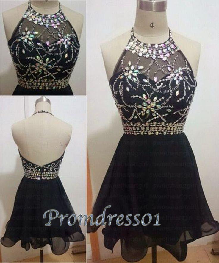 Black halter prom dress, backless short prom dress, vintage dress for teens…                                                                                                                                                     More