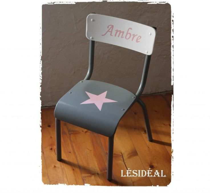 Rue-des-Relookeurs: Chaise enfant vintage étoile rose                                                                                                                                                                                 Plus
