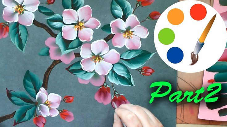 How to paint an apple tree by a flat brush, part 2, paint a flower - YouTube