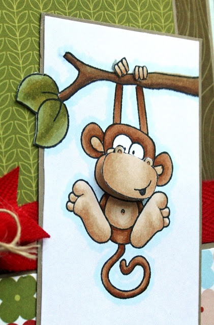 colored the monkey with E37, E35, E34, E33,E31, E30  and added outlined him with some B0000.  I colored the branch with E59. E57,and E55 and the leaves with YG97, YG95, and YG93