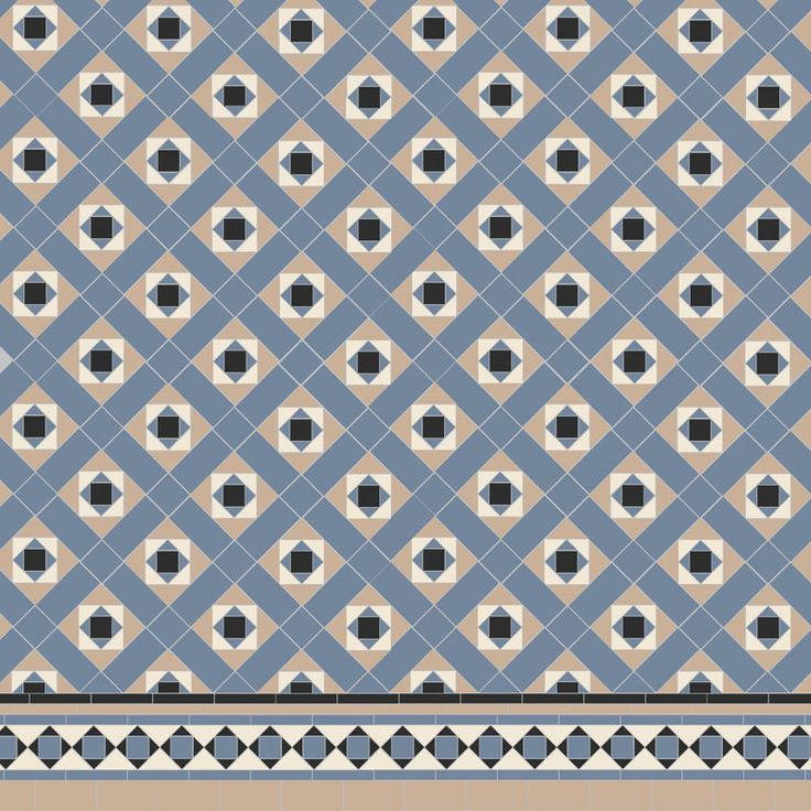 Victorian Floor Tiles - soft blue, Conway with modified Browning border