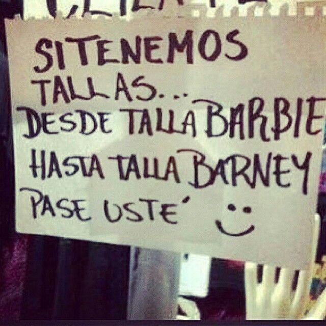Talla barbie y barney