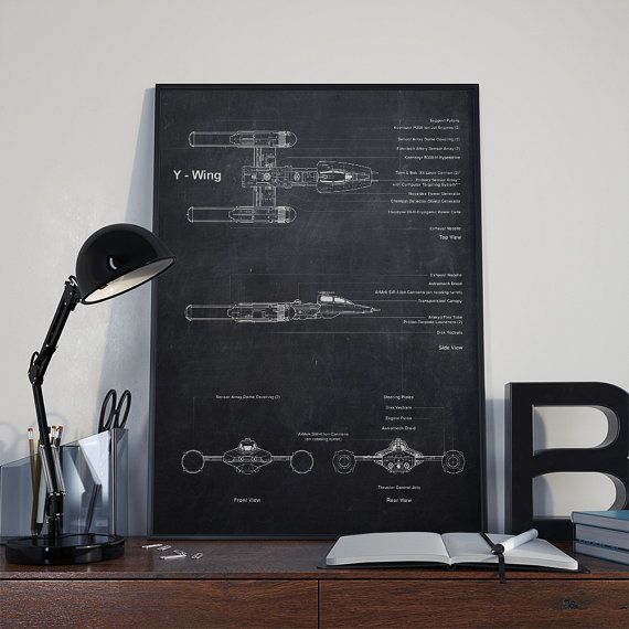 Y WING Star Wars poster Patent Printable  Y di DamaDigitalDesign