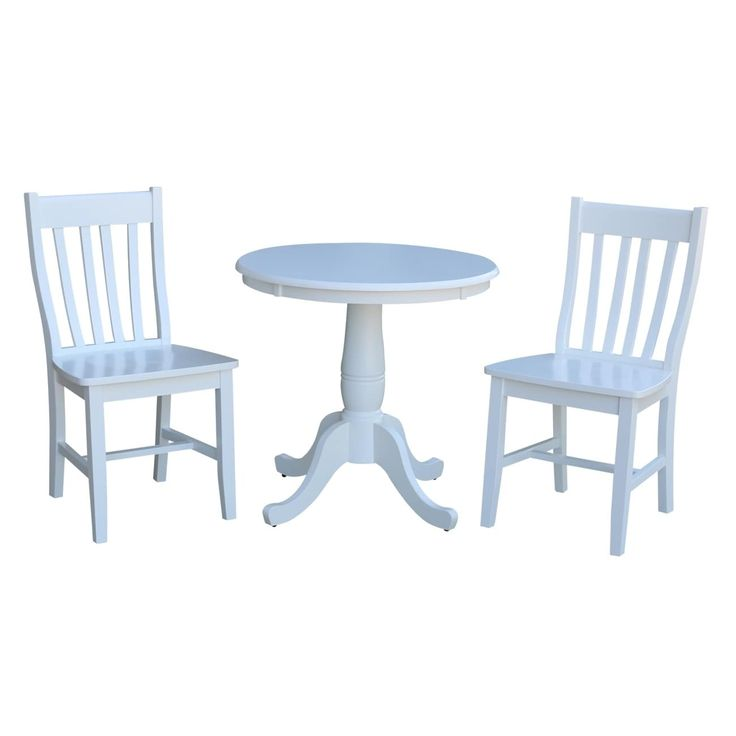 International Concepts 30 Round Top Pedestal Table with 2 Cafe Chairs - Set of 3, White, Size 3-Piece Sets