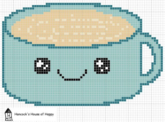 Cute kawaii coffee cross stitch for the coffee lover in your life. Free download at Hancock's House of Happy http://hancockshouseofhappy.blogspot.com/2012/02/coffee-time-free-cute-coffee-cup-cross.html