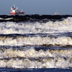 Waves rise up on the Baltic Sea off Warnemuende